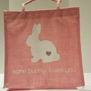 Other - Burlap Easter pink bag with white bunny, New